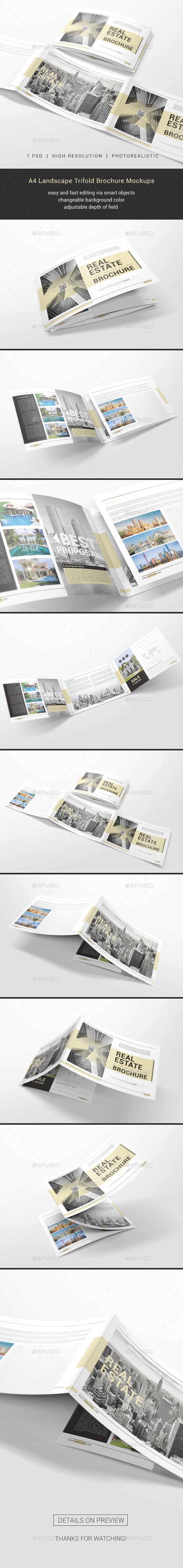 GraphicRiver A4 Trifold Brochure Mockups 21168451