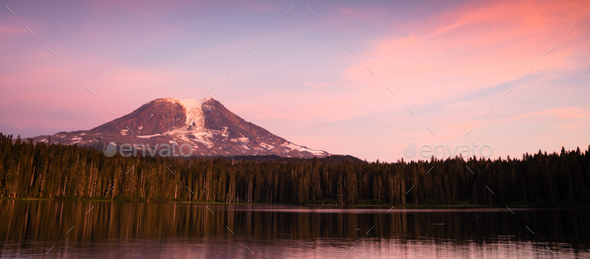 A calm summer day near base of Mount Adams Takhlakh Lake - Stock Photo - Images