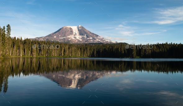 Mount Adams Takhlakh Lake Smooth Reflection Washington Cascade Mountains - Stock Photo - Images