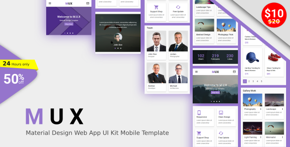 Download MUX - Material Design Web App UI Kit Mobile Template            nulled nulled version