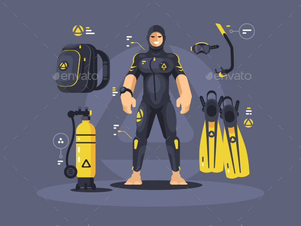 Diver in Wetsuit and Diving Equipment - Miscellaneous Vectors