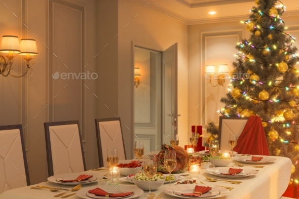 3d Illustration of a Christmas Family Dinner Table - 3D Renders Graphics