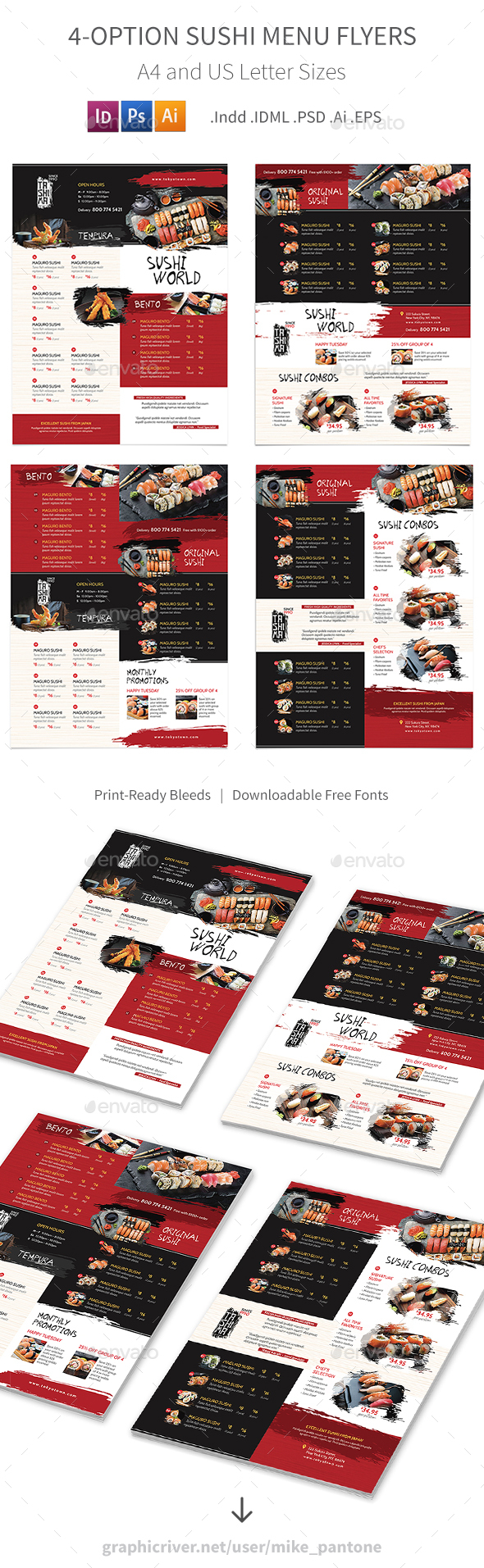 GraphicRiver Sushi Restaurant Menu Flyers 3 4 Options 21169239