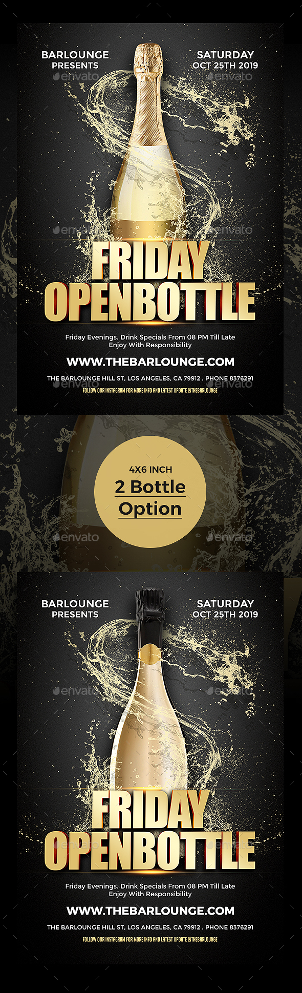Open Bottle Flyer Poster Template - Clubs & Parties Events
