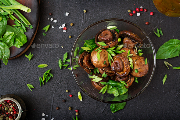 Baked mushrooms with soy sauce and herbs. Top view - Stock Photo - Images