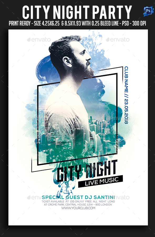 GraphicRiver City Night Party Flyer 21169645