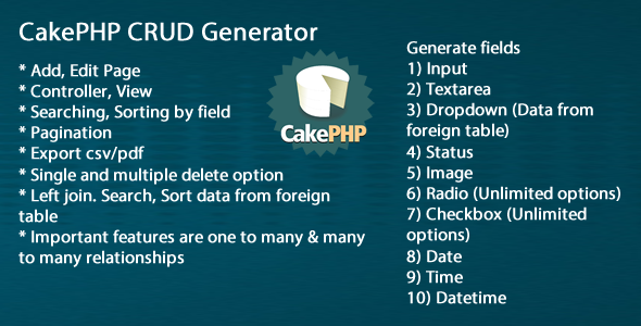 Download Source code              Cake CRUD Generator            nulled nulled version