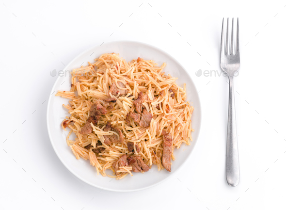 home made stew of noodles and pork - Stock Photo - Images