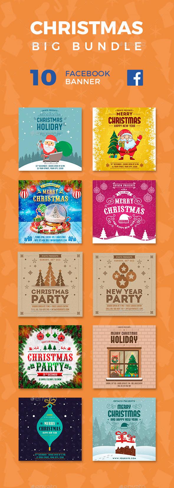 GraphicRiver Christmas Facebook Banners Big Bundle 21121030