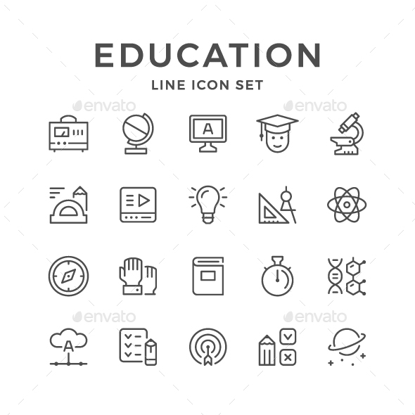 Set Line Icons of Education - Man-made objects Objects