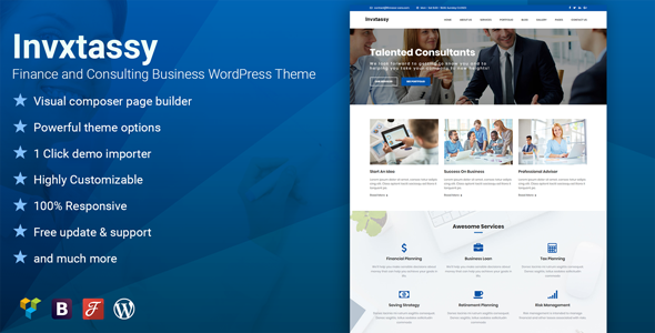 Invxtassy - Finance and Consulting WordPress Theme