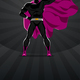 Superhero Stands on the Dark Background
