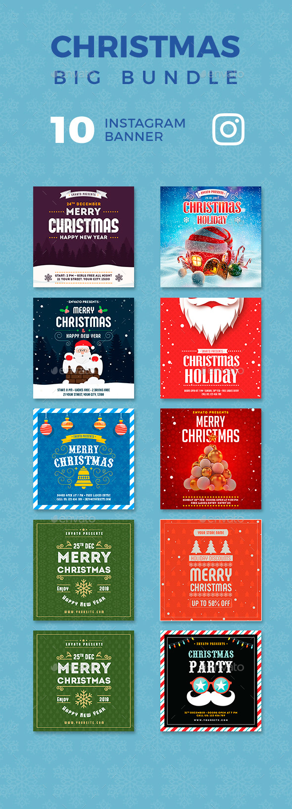 GraphicRiver Christmas Instagram Banners Big Bundle 21170659
