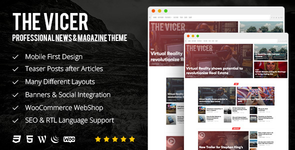 ThemeForest The Vicer Professional News & Magazine WordPress Theme 20905861