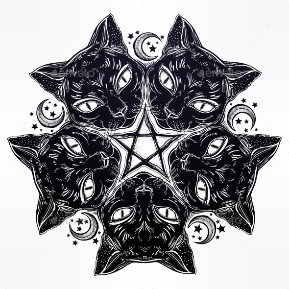 GraphicRiver Black Cat Head Portrait Mandala 21170707