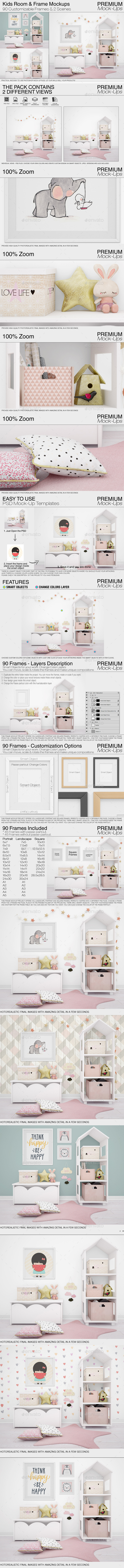 Kids Room & Frame Mockups - Print Product Mock-Ups