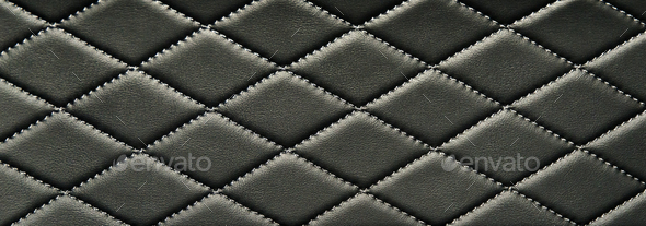 black stitched leather - Stock Photo - Images