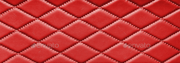 red stitched leather - Stock Photo - Images
