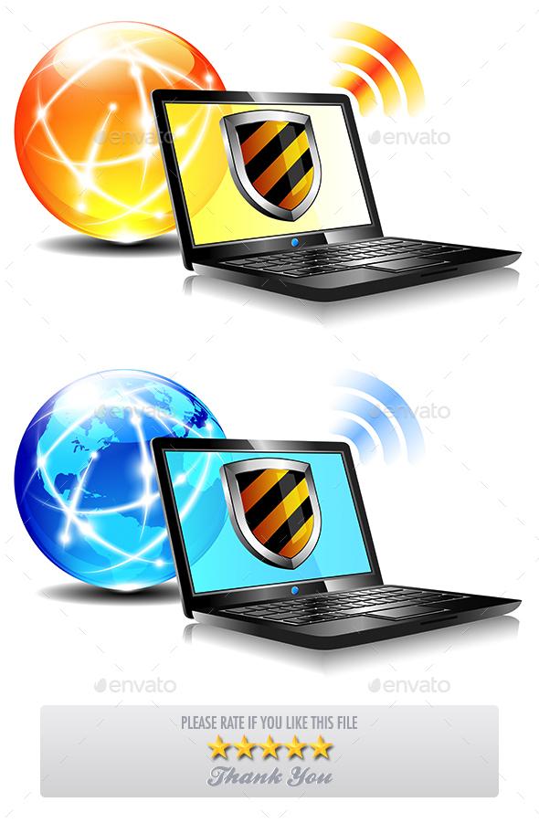 Internet Protection Shield Antivirus Laptop - Computers Technology