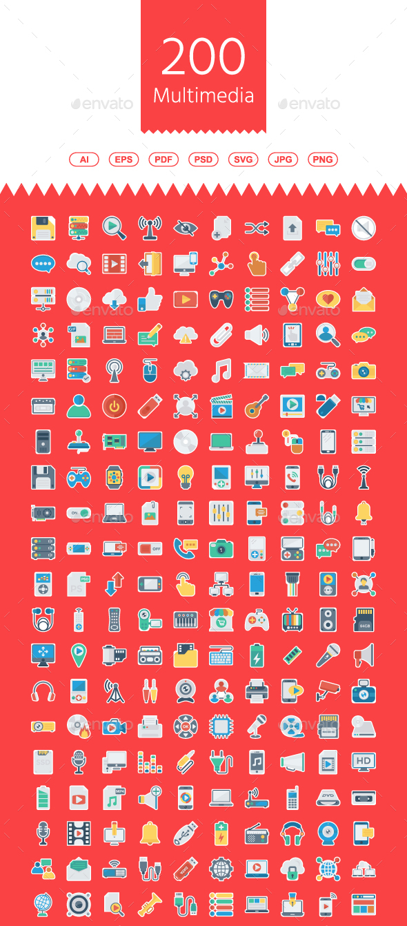 GraphicRiver Multimedia Flat Paper Icons 21171526