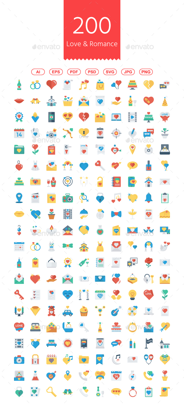 200 Love and Romance Flat Icons - Web Icons