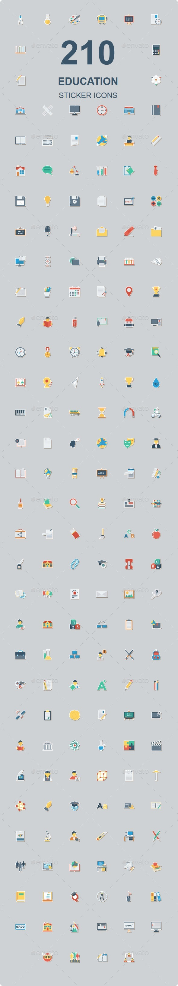 200 Education Flat Paper Icons - Web Icons