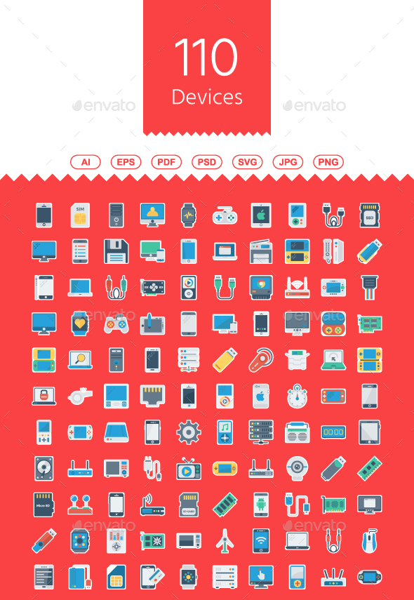 110 Devices Flat Paper Icons - Web Icons