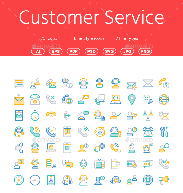 Customer Services Line Color Icons - Web Icons