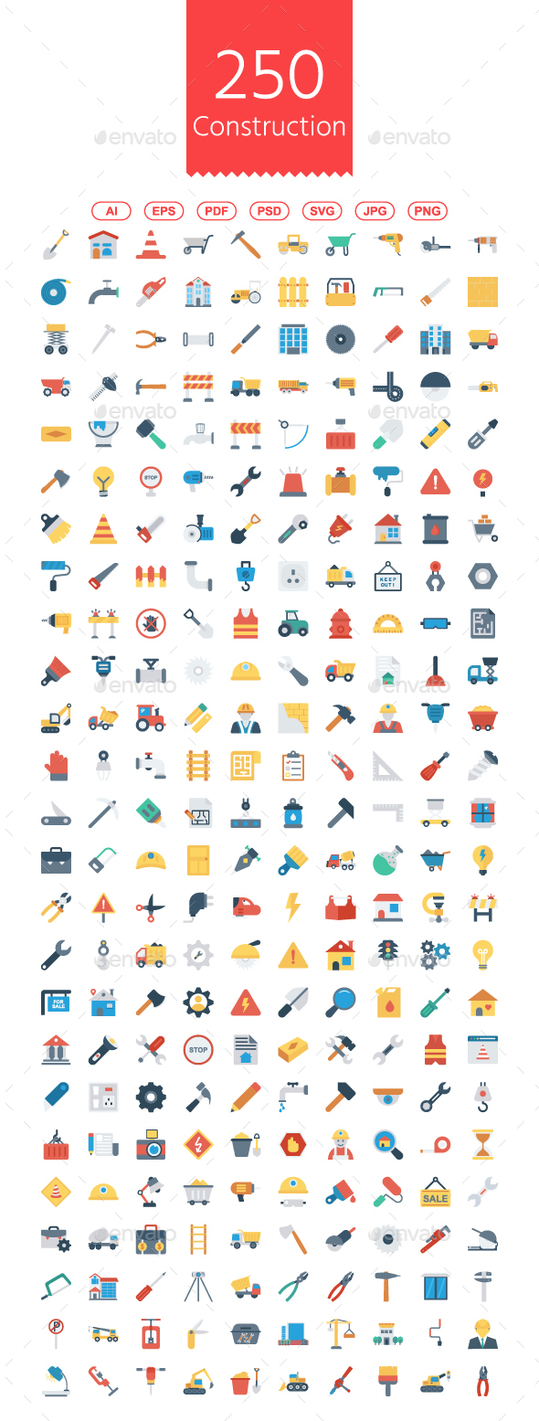 GraphicRiver 200 Construction Flat Icons 21171640