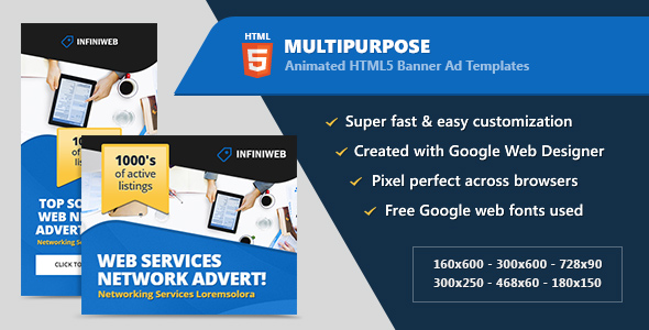 HTML5 Animated Banner Ads - Multipurpose (GWD) - CodeCanyon Item for Sale