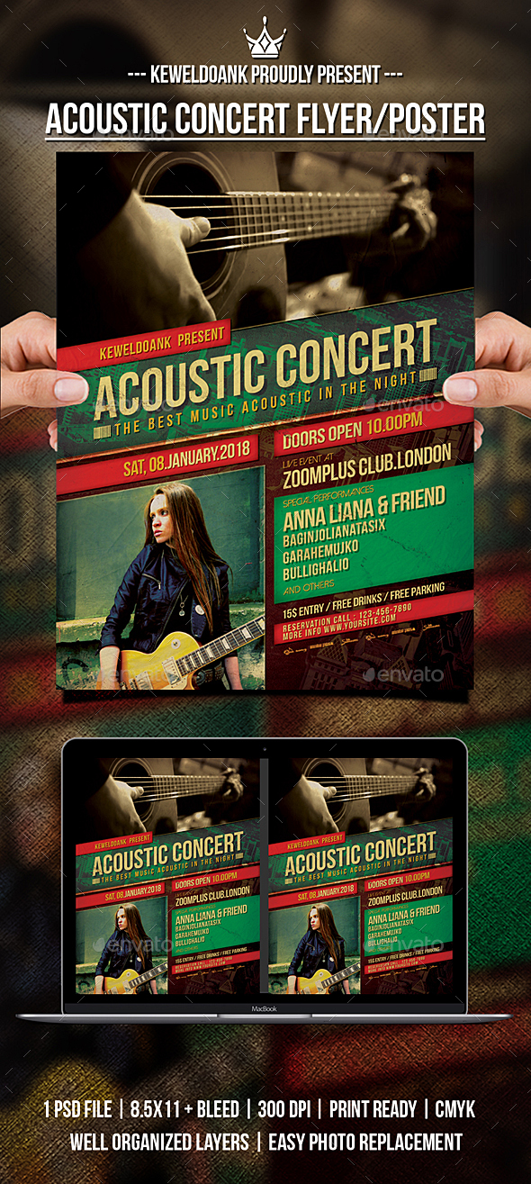 GraphicRiver Acoustic Concert Flyer Poster 21171776
