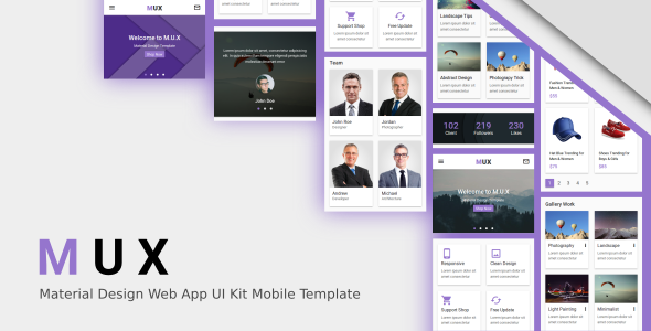 MUX - Material Design Web App UI Kit Mobile Template