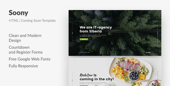 Soony — Powerful Coming Soon HTML Template - Specialty Pages Site Templates