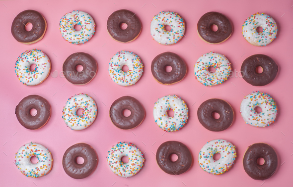 donuts on pink background, pattern - Stock Photo - Images