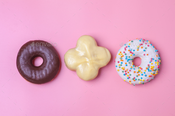 three type of sweet buns and donuts - Stock Photo - Images