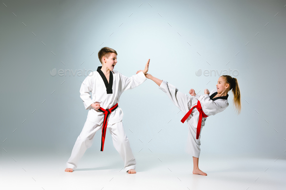 The studio shot of group of kids training karate martial arts - Stock Photo - Images