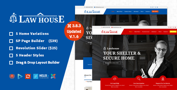 theme preview. large preview - Barrister - Responsive Law Business Joomla Template
