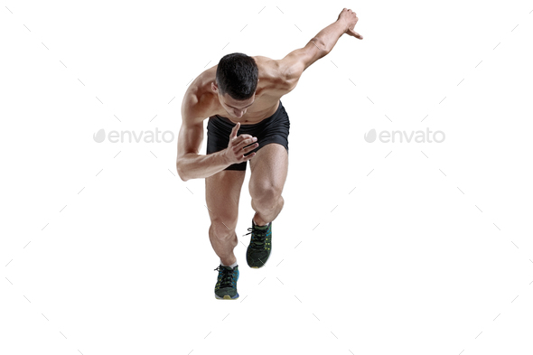 The studio shot of high jump athlete is in action - Stock Photo - Images