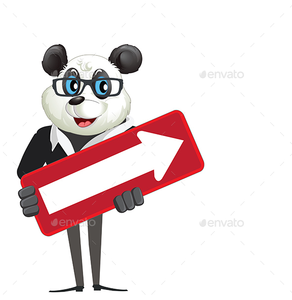 GraphicRiver Cartoon Character Panda Holding Arrow Sign 21172270
