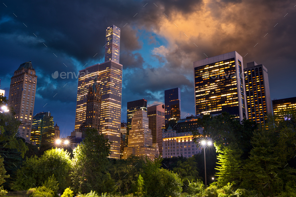 Central Park and skyscrapers - Stock Photo - Images