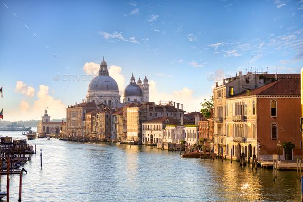 Grand Canal and Basilica Santa Maria della Salute - Stock Photo - Images