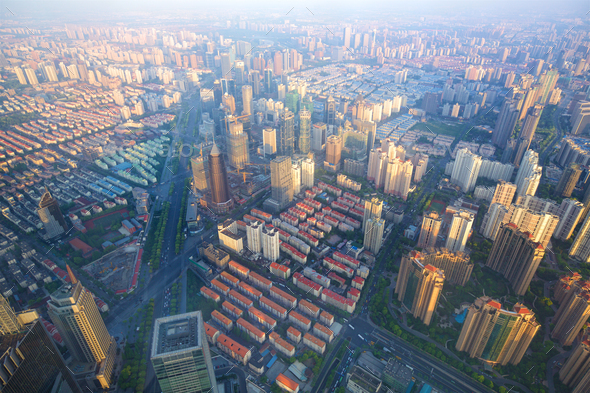 Shanghai aerial cityscape - Stock Photo - Images