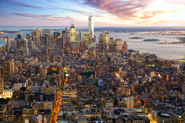 Manhattan skyline at sunset - Stock Photo - Images