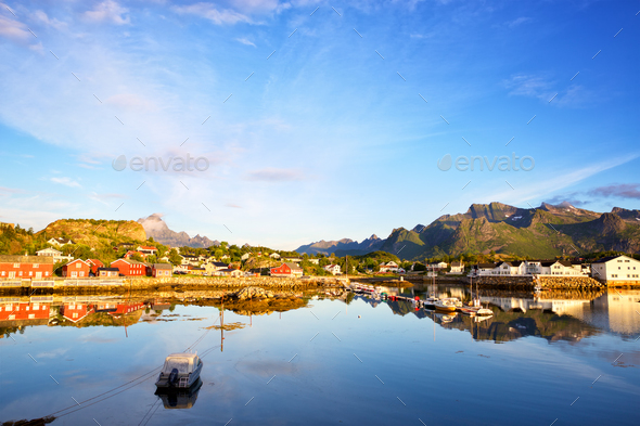 Fishing village in Lofoten - Stock Photo - Images