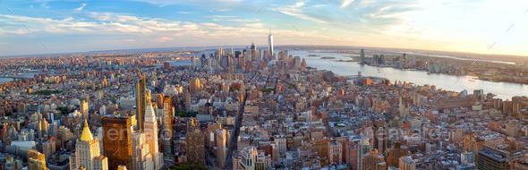Manhattan skyline panorama - Stock Photo - Images