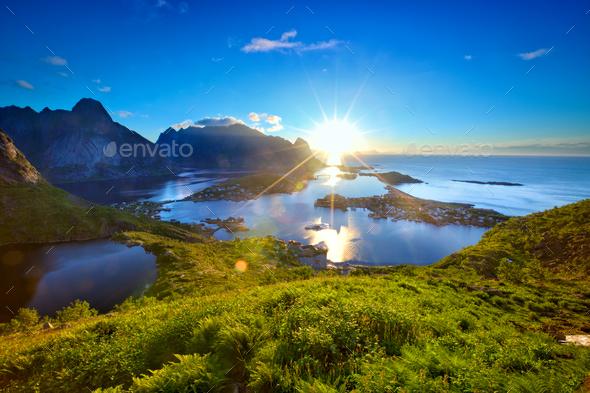 Lofoten Islands sunrise - Stock Photo - Images