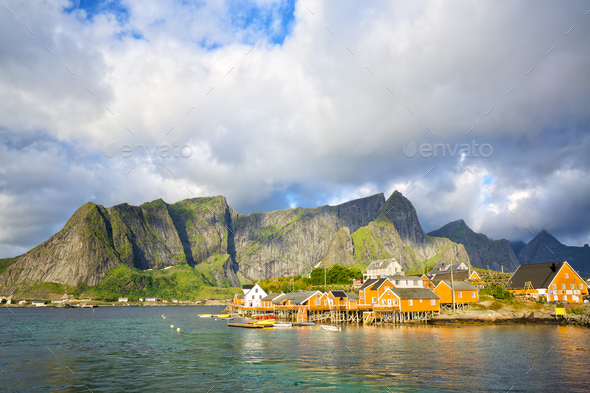 Reine and Sakrisoy fishing villages - Stock Photo - Images