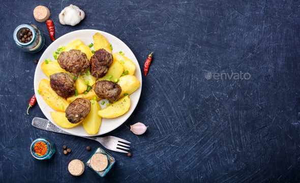 Meat cutlets and potatoes - Stock Photo - Images