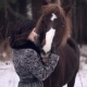 Beautiful Girl Petting Horse in the Winter Forest - VideoHive Item for Sale