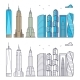 Linear and Colorful City Skyscrapers Isolated on